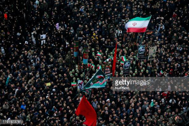 Iranians take part in an anti-US rally to protest the killings during a US air strike of Iranian military commander Qasem Soleimani and Iraqi...