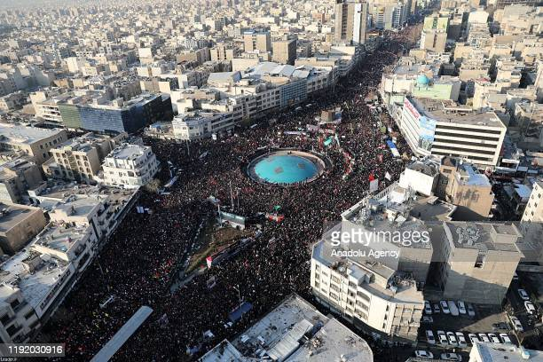 Iranians the funeral ceremony of Qasem Soleimani commander of Iranian Revolutionary Guards' Quds Forces who was killed in a US drone airstrike in...