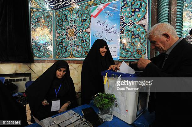 Iranians vote in key elections for Parliament and the Assembly of Experts in the Hosseiniyeh Ershad mosque in Tehran Iran on February 26 2016 The...