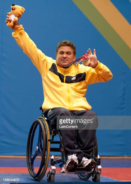 November 15: Iranildo Conceicao of Brasil celebretes medal Gold during men's singles table tennis C1-2 2011 during the Pan American Games for the...