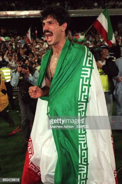 Iran's Ali Daei celebrates reaching the World Cup Finals