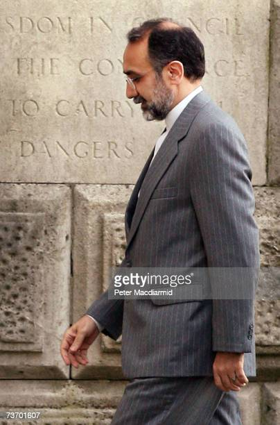 Iran's ambassador Rasoul Movahedian arrives at the Foreign Office on March 26 2007 in London England Diplomats are still trying to secure the release...