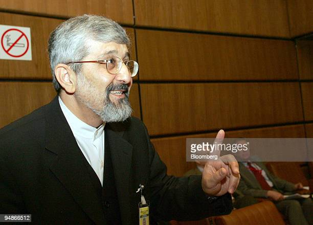 Iran's Ambassador to the International Atomic Energy Agency Ali Asghar Soltanieh speaks before the start of a meeting of the agency to to decide...