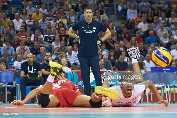 Iran's Amir Ghafour looks to the ball during the FIVB World Championships match between Belgium and Iran at Cracow Arena on September 6, 2014 in...