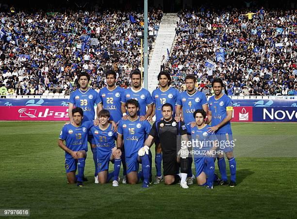 Iran's Esteghlal footbal team players Pejman Montazeri Amir Hossein Sadeghi Siavash Akbarpour Mohammad Mehdi Seyedsalehi Hossein Kazemi and Farhad...