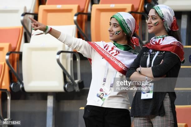 Iran's fans are pictured in the stands before the Russia 2018 World Cup Group B football match between Iran and Portugal at the Mordovia Arena in...