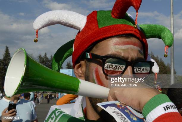 Iran's fans arrive at the Saint Petersburg Stadium before the Russia 2018 World Cup Group B football match between Morocco and Iran on June 15, 2018.