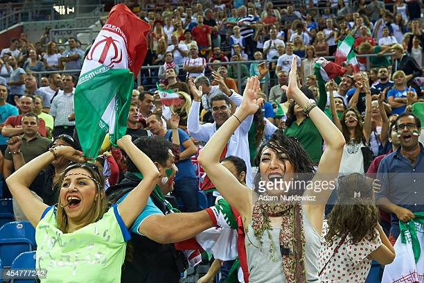 Iran's fans suppot their national team during the FIVB World Championships match between Belgium and Iran at Cracow Arena on September 6, 2014 in...