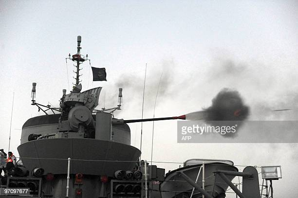Iran's first domestically made destroyer Jamaran fires a cannonin the Gulf on February 21 during an inauguration ceremony. Iran's navy on February 19...