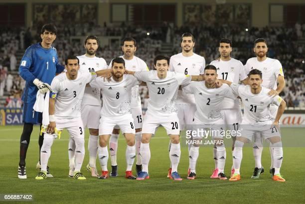 Iran's first eleven goalkeeper Alireza Safarbeiranvand forward Karim Ansari Fard defender Pejman Montazeri midfielder Saeid Ezatolahi forward Mehdi...