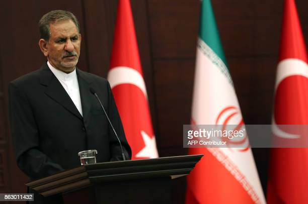 Iran's First Vice President Eshaq Jahangiri addresses a joint press conference with ITurkish Prime Minister Binali Yildirim at Cankaya Palace in...
