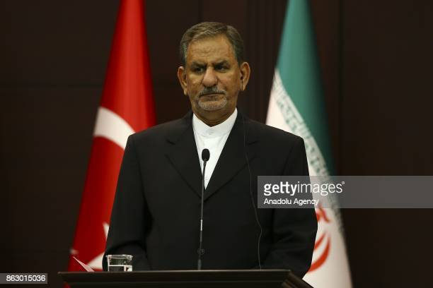 Iran's First Vice President Eshaq Jahangiri and Turkish Prime Minister Binali Yildirim hold a joint press conference at Cankaya Palace in Ankara...