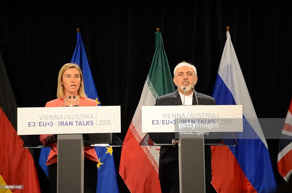 Iran's Foreign Minister Javad Zarif (R), High Representative of the European Union for Foreign Affairs and Security Policy Federica Mogherini (L) hold a joint press conference after the Iran nuclear talk meetings concluded with a deal in Vienna, Austria on July 14, 2015.