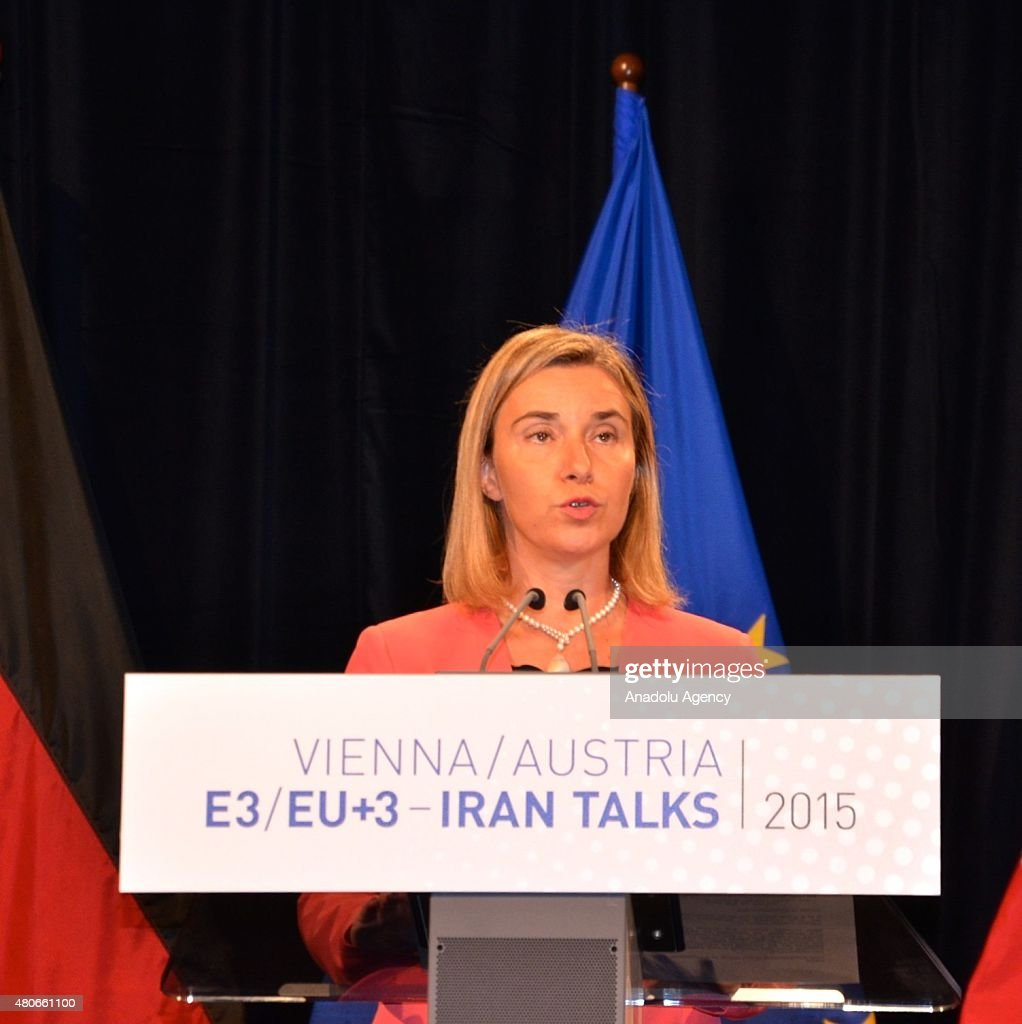 Iran's Foreign Minister Javad Zarif (not seen), High Representative of the European Union for Foreign Affairs and Security Policy Federica Mogherini (L) hold a joint press conference after the Iran nuclear talk meetings concluded with a deal in Vienna, Austria on July 14, 2015.
