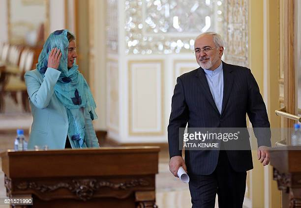 Iran's Foreign minister Mohammad Javad Zarif and European Union High Representative for Foreign Affairs, Federica Mogherini arrive for a press...