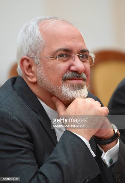 Iran's Foreign Minister Mohammad Javad Zarif attends a meeting with his Belarus' counterpart in Minsk on February 17 2015 AFP PHOTO / MAXIM MALINOVSKY