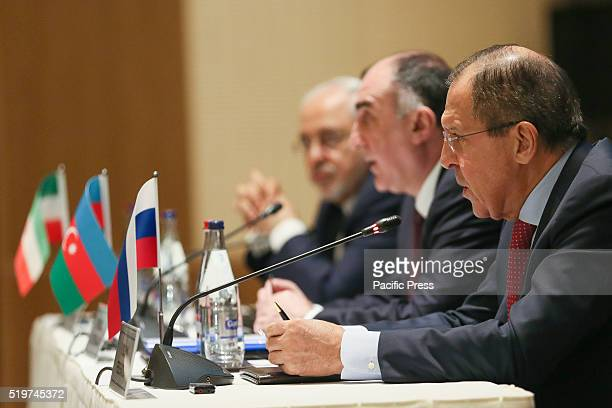 Iran's Foreign Minister Mohammad Javad Zarif Azerbaijan's Foreign Minister Elmar Mammadyarov and Russia's Foreign Minister Sergei Lavrov give a joint...