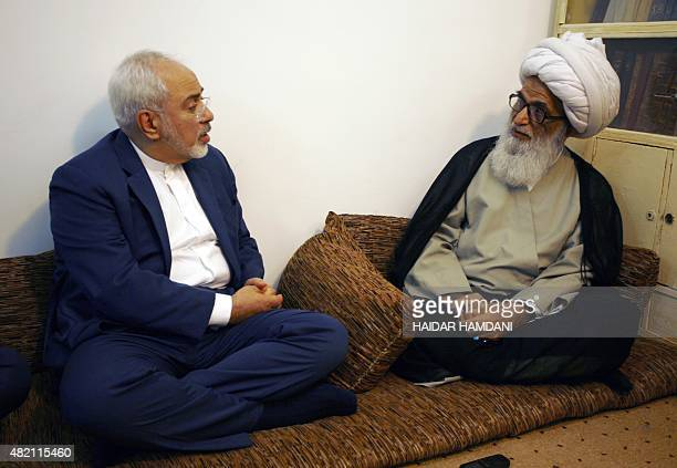 Iran's Foreign Minister Mohammad Javad Zarif meets with Grand Ayatollah Sheikh Bashir Hussain Najafi one of the five Grand Ayatollahs in Iraq during...