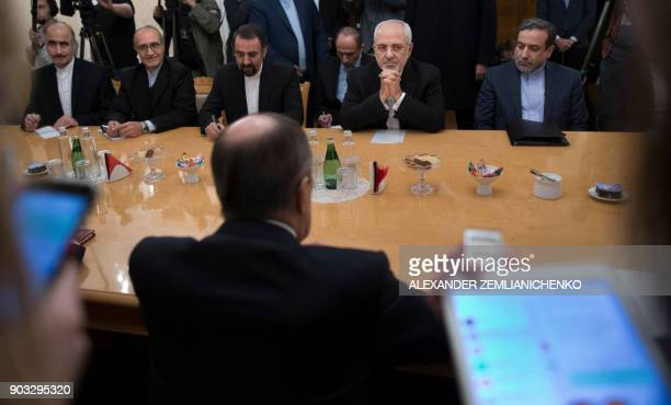 Iran's Foreign Minister Mohammad Javad Zarif meets with his Russian counterpart Sergei Lavrov in Moscow on January 10 2018 / AFP PHOTO / POOL /...