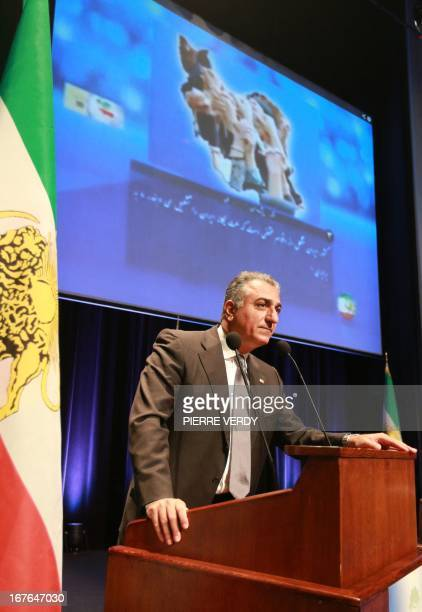 Iran's former crown Prince Reza Pahlavi delivers a speech at the opening of the National Council of Resistance of Iran on April 27 2013 in Paris...