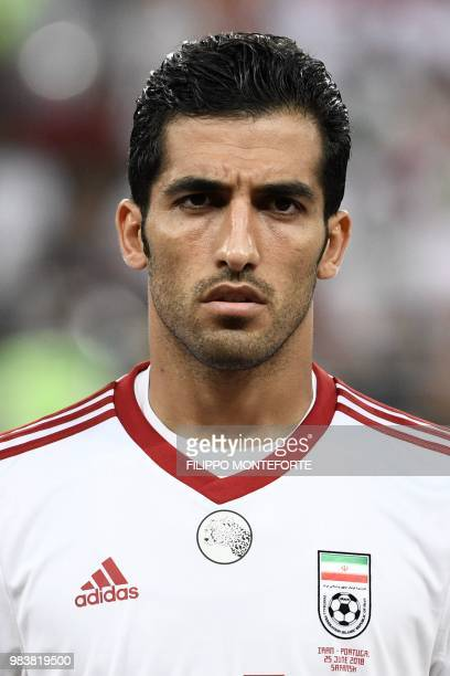 Iran's forward Vahid Amiri lines up prior to the Russia 2018 World Cup Group B football match between Iran and Portugal at the Mordovia Arena in...