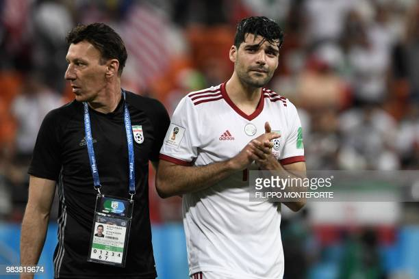 Iran's forward Vahid Amiri reacts after the Russia 2018 World Cup Group B football match between Iran and Portugal at the Mordovia Arena in Saransk...