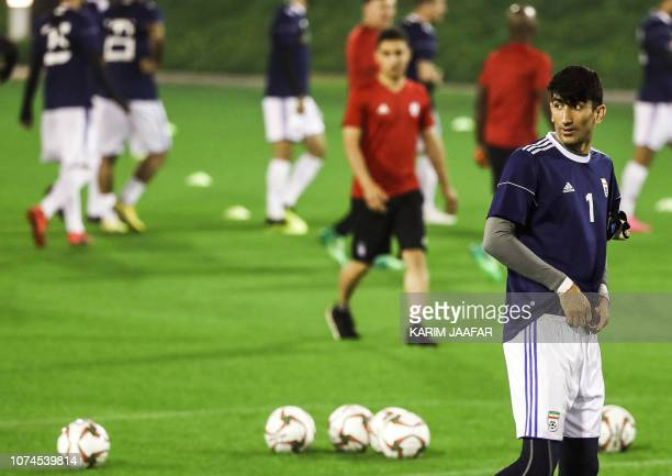 Iran's goalkeeper Alireza Beiranvand attends a training session as the team prepares for the 2019 edition of the AFC Asian cup in Qatar's capital of...