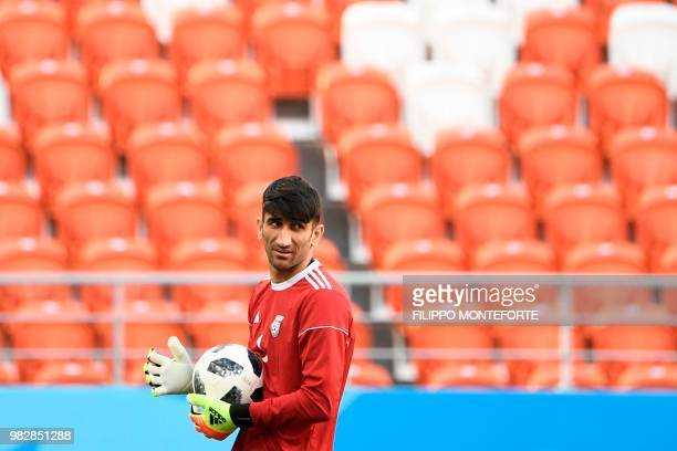 Iran's goalkeeper Alireza Beiranvand attends a training session at the Mordovia Arena in Saransk on June 24 on the eve of their Russia 2018 World Cup...