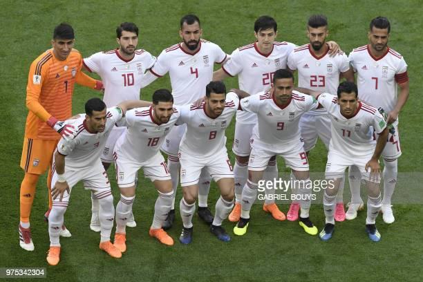Iran's goalkeeper Alireza Beiranvand Iran's forward Karim Ansari Fard Iran's defender Roozbeh Cheshmi Iran's forward Sardar Azmoun Iran's defender...