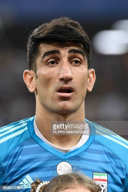 Iran's goalkeeper Alireza Beiranvand lines up prior to the Russia 2018 World Cup Group B football match between Iran and Portugal at the Mordovia...
