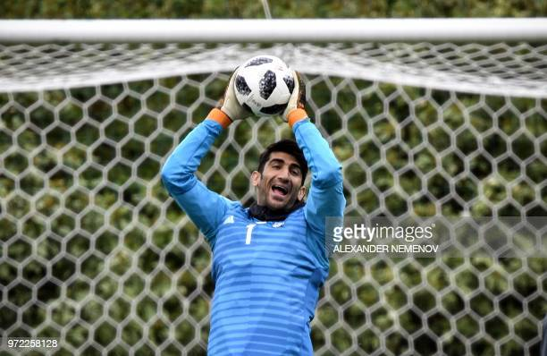 Iran's goalkeeper Alireza Beiranvand practices during a training session in Bakovka outside Moscow on June 12 ahead of the Russia 2018 World Cup...