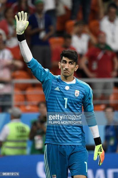 Iran's goalkeeper Alireza Beiranvand waves after the Russia 2018 World Cup Group B football match between Iran and Portugal at the Mordovia Arena in...
