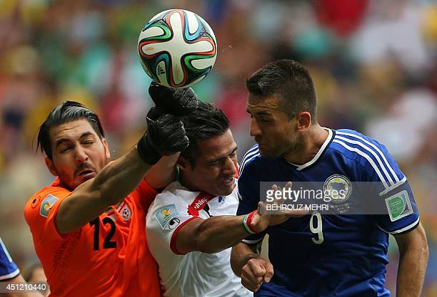 Iran's goalkeeper Alireza Haghighi in action during a Group F football match between BosniaHercegovina and Iran at the Fonte Nova Arena in Salvador...