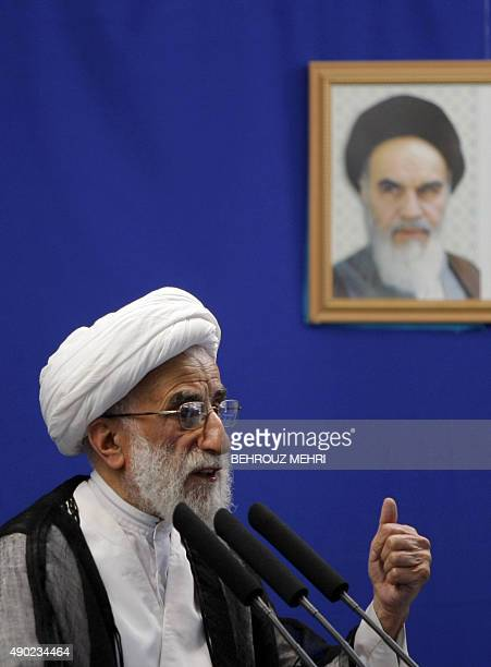 Iran's head of the Guardian Council Ahmad Jannati delivers his speech during at the weekly Friday prayers sermon in Tehran University on July 3 2009...