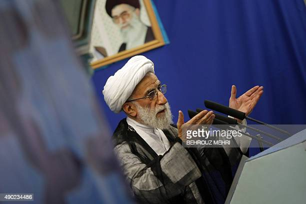 Iran's head of the Guardian Council Ahmad Jannati delivers his speech at the weekly Friday prayers sermon in Tehran University on July 3 2009 The...