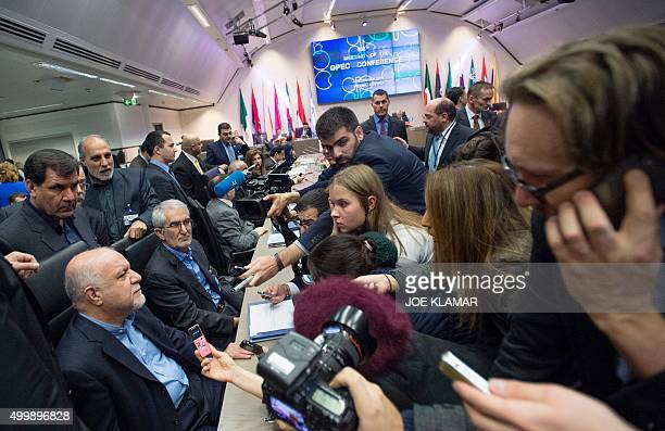Iran's Minister of Petroleum Bijan Namdar Zangeneh speaks to journalists at the 168th Ordinary meeting of the Conference of the Organization of the...