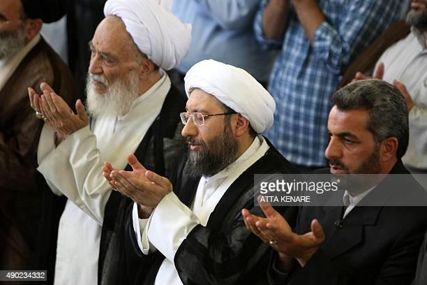 Iran's new judiciary chief Hojatoleslam Sadegh Ardeshir Larijani performs the weekly Friday prayers at Tehran University in the Iranian capital on...