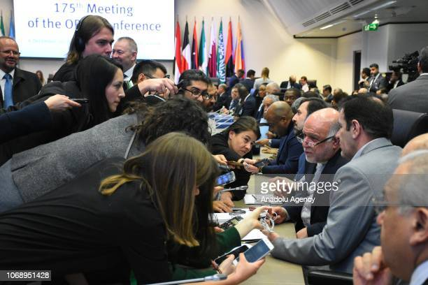 Iran's Oil Minister Bijan Namdar Zanganeh answers the press members' questions ahead of the 175th ordinary meeting of Organization of Petroleum...