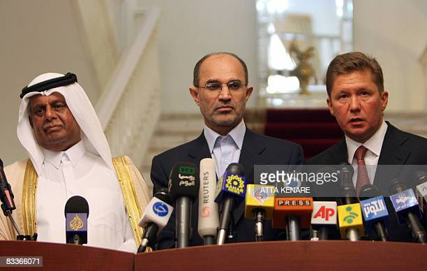 Iran's Oil Minister Gholam Hossein Nozari Qatar's Minister of Energy and Industry Abdullah bin Hamad alAttiyah and Alexi Miller CEO of Russian gas...