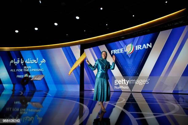 Iran's opposition leader Maryam Rajavi Annual gathering of Free IranAlternative 100 ASHRAF at the Villepinte exhibition North of Paris France June 30...