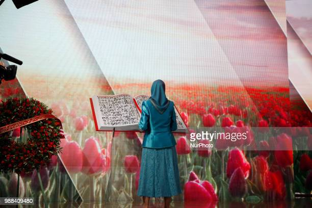 Iran's opposition leader Maryam Rajavi pays tribute of victims killed by the regime in Iran Annual gathering of Free IranAlternative 100 ASHRAF at...