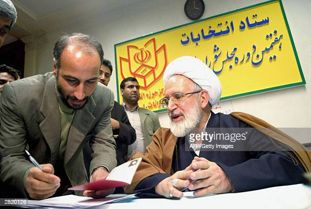 Iran's Parliament speaker Mehdi Karubi attends the governor's office to register as candidate for the forthcoming February 20 2004 Majlis elections...