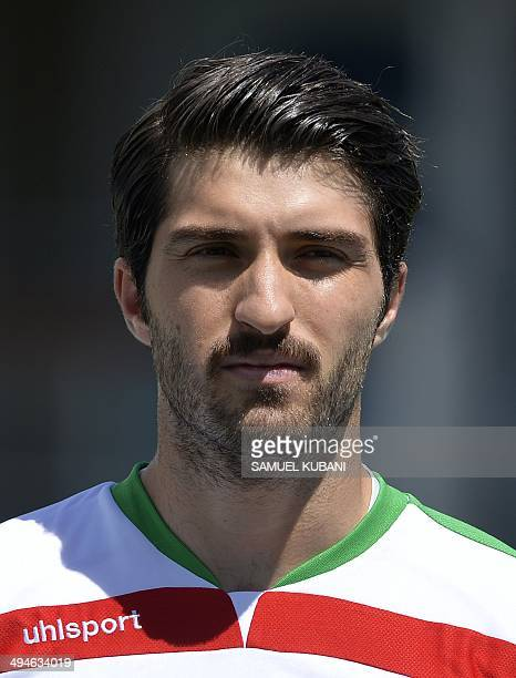 Iran's player Karim Ansarifard is pictured prior to the friendly football match Iran vs Angola in preparation for the FIFA World Cup 2014 on May 30...