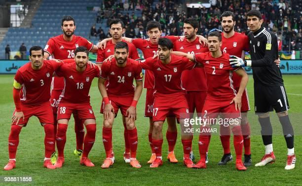 Iran's players midfielder Ehsan Hajsafi midfielder Alireza Jahanbakhsh midfielder Saeid Aghaei forward Mehdi Taremi defender Vouria Ghafouri and and...