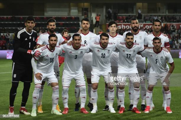 Iran's players pose for a photograph on May 28 2018 during the International friendly football match between Turkey and Iran at Basaksehir Fatih...