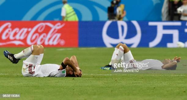 Iran's players react following the final whistle during the Russia 2018 World Cup Group B football match between Iran and Portugal at the Mordovia...