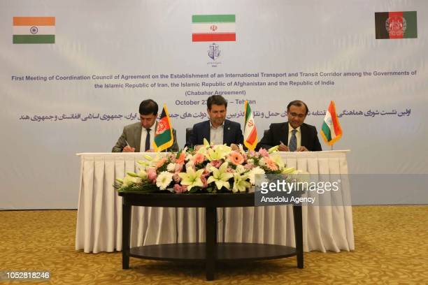 Iran's Ports and Maritime Organization Managing Director Mohammad Rastad Afghanistan's Deputy Minister of Transport and Civil Aviation Emamuddin...