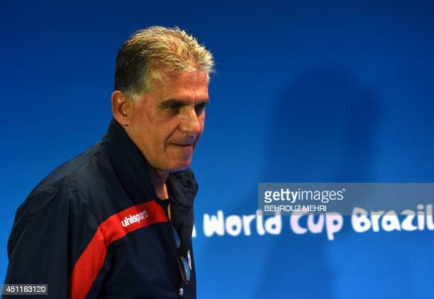 Iran's Portugese coach Carlos Queiroz attends a press conference at the Fonte Nova Arena in Salvador on June 24 on the eve of their 2014 FIFA World...