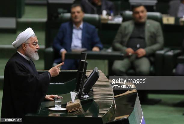 Iran's President Hassan Rouhani addresses parliament in the capital Tehran on September 3 2019 In an address to parliament Rouhani ruled out holding...