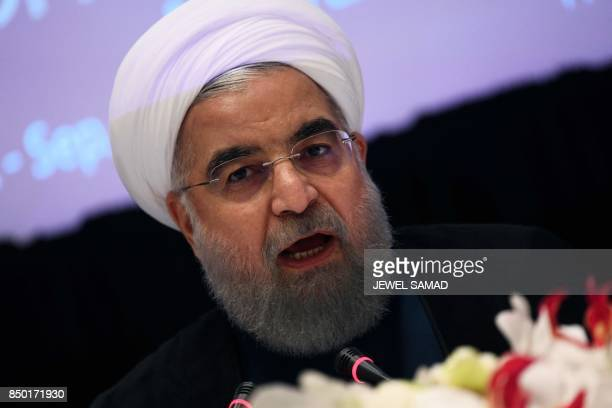 Iran's President Hassan Rouhani answers a question during a press conference in New York on September 20 on the sideline of the 72nd Session of the...